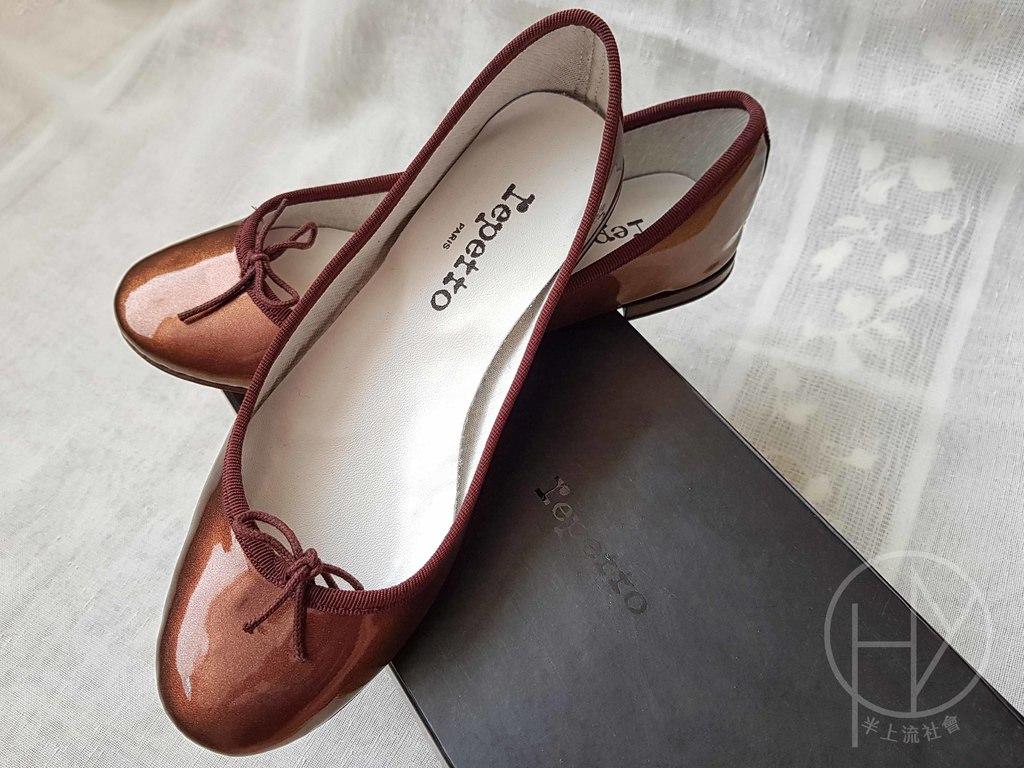 【Repetto】超好穿經典低跟芭蕾舞鞋(亮皮咖啡金)